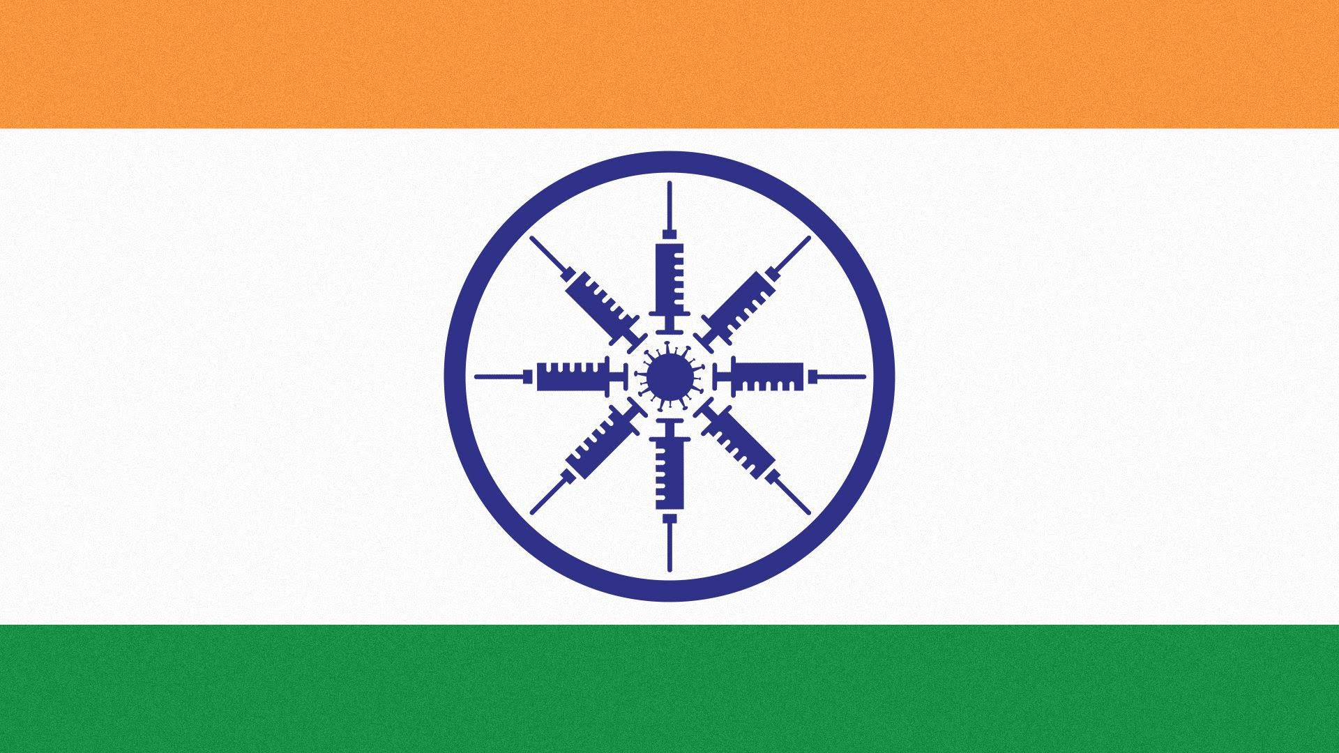 Illustration of India's flag, with syringes forming the spokes of the wheel symbol.